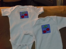 Cherry appliqued onesies for Shiloh and Mae.
